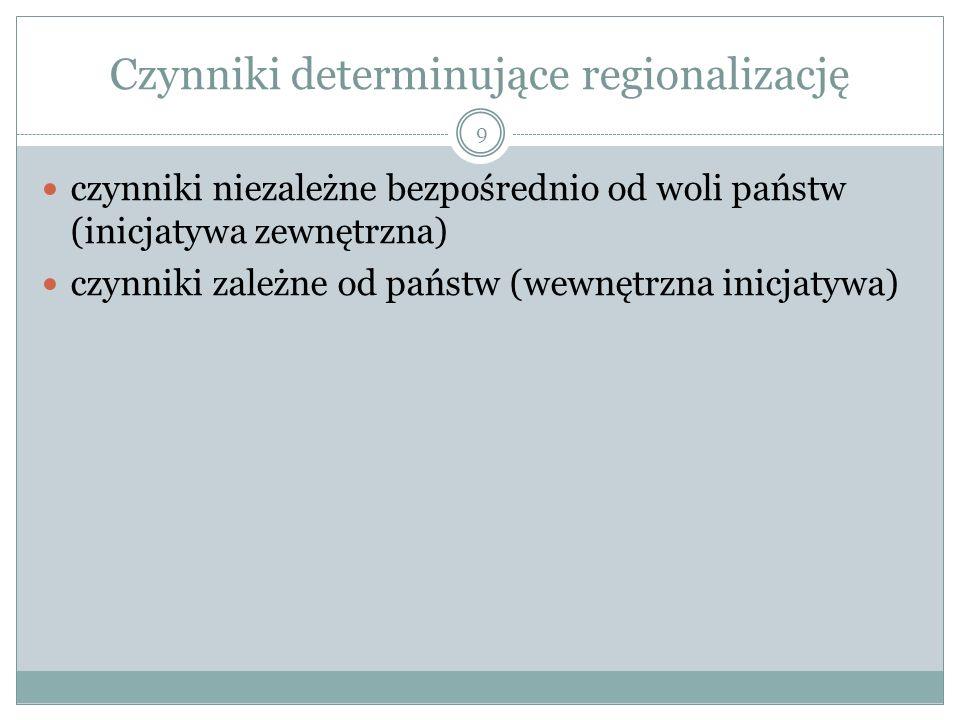 Czynniki determinujące regionalizację czynniki niezależne bezpośrednio od woli państw (inicjatywa zewnętrzna) czynniki zależne od państw (wewnętrzna inicjatywa) 9