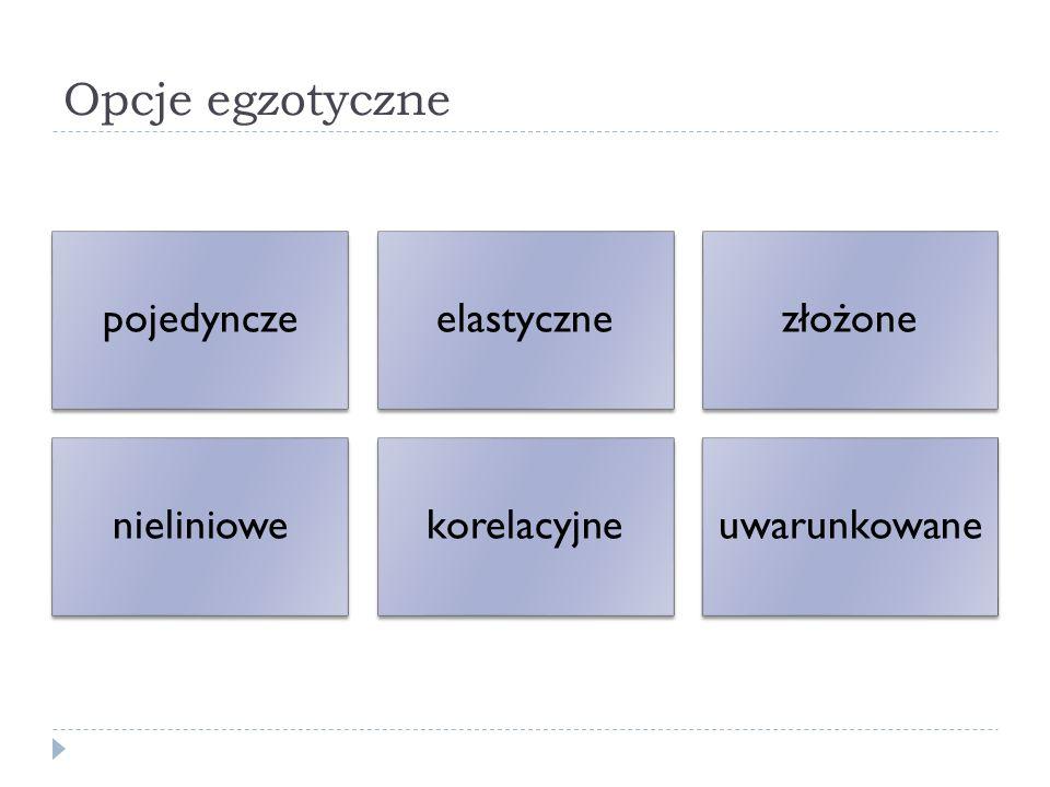 Opcje egzotyczne pojedynczeelastycznezłożone nieliniowekorelacyjneuwarunkowane