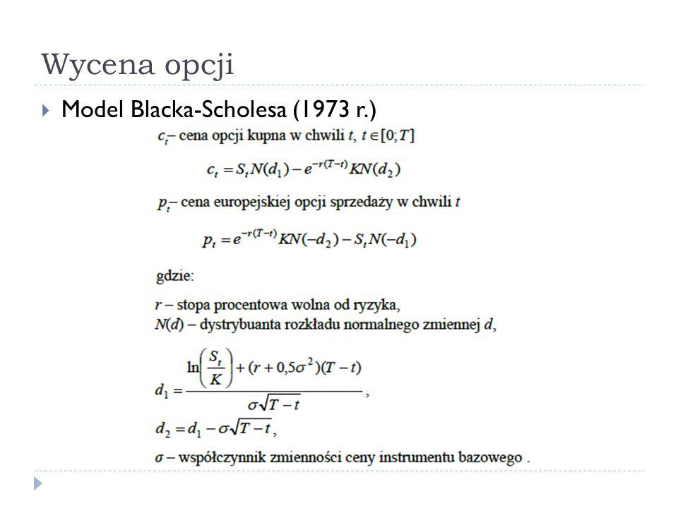 Wycena opcji  Model Blacka-Scholesa (1973 r.)
