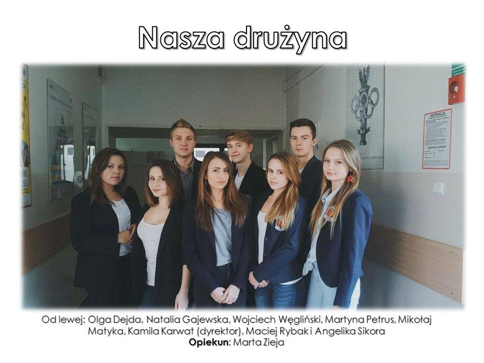 Od lewej: Olga Dejda, Natalia Gajewska, Wojciech Węgliński, Martyna Petrus, Mikołaj Matyka, Kamila Karwat (dyrektor), Maciej Rybak i Angelika Sikora Opiekun : Marta Zieja