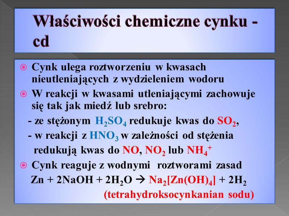  Cynk ulega roztworzeniu w kwasach nieutleniających z wydzieleniem wodoru  W reakcji w kwasami utleniającymi zachowuje się tak jak miedź lub srebro: - ze stężonym H 2 SO 4 redukuje kwas do SO 2, - w reakcji z HNO 3 w zależności od stężenia redukują kwas do NO, NO 2 lub NH 4 +  Cynk reaguje z wodnymi roztworami zasad Zn + 2NaOH + 2H 2 O  Na 2 [Zn(OH) 4 ] + 2H 2 (tetrahydroksocynkanian sodu)  Cynk ulega roztworzeniu w kwasach nieutleniających z wydzieleniem wodoru  W reakcji w kwasami utleniającymi zachowuje się tak jak miedź lub srebro: - ze stężonym H 2 SO 4 redukuje kwas do SO 2, - w reakcji z HNO 3 w zależności od stężenia redukują kwas do NO, NO 2 lub NH 4 +  Cynk reaguje z wodnymi roztworami zasad Zn + 2NaOH + 2H 2 O  Na 2 [Zn(OH) 4 ] + 2H 2 (tetrahydroksocynkanian sodu)