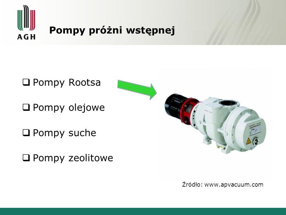 Pompy próżni wstępnej  Pompy Rootsa  Pompy olejowe  Pompy suche  Pompy zeolitowe Źródło: www.apvacuum.com