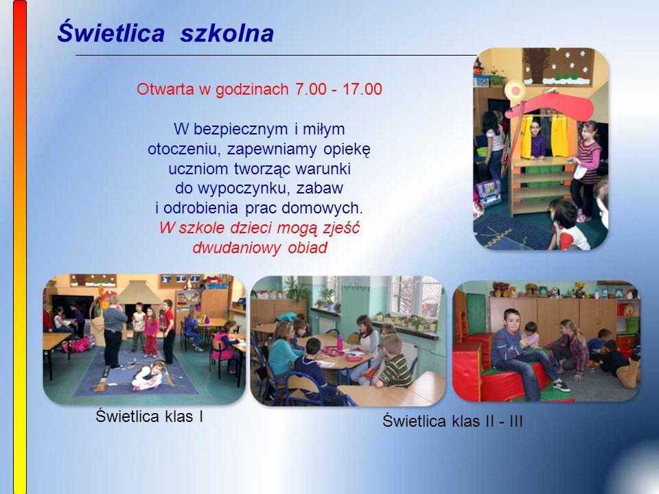 Świetlica szkolna Otwarta w godzinach 7.00 - 17.00 W bezpiecznym i miłym otoczeniu, zapewniamy opiekę uczniom tworząc warunki do wypoczynku, zabaw i odrobienia prac domowych.
