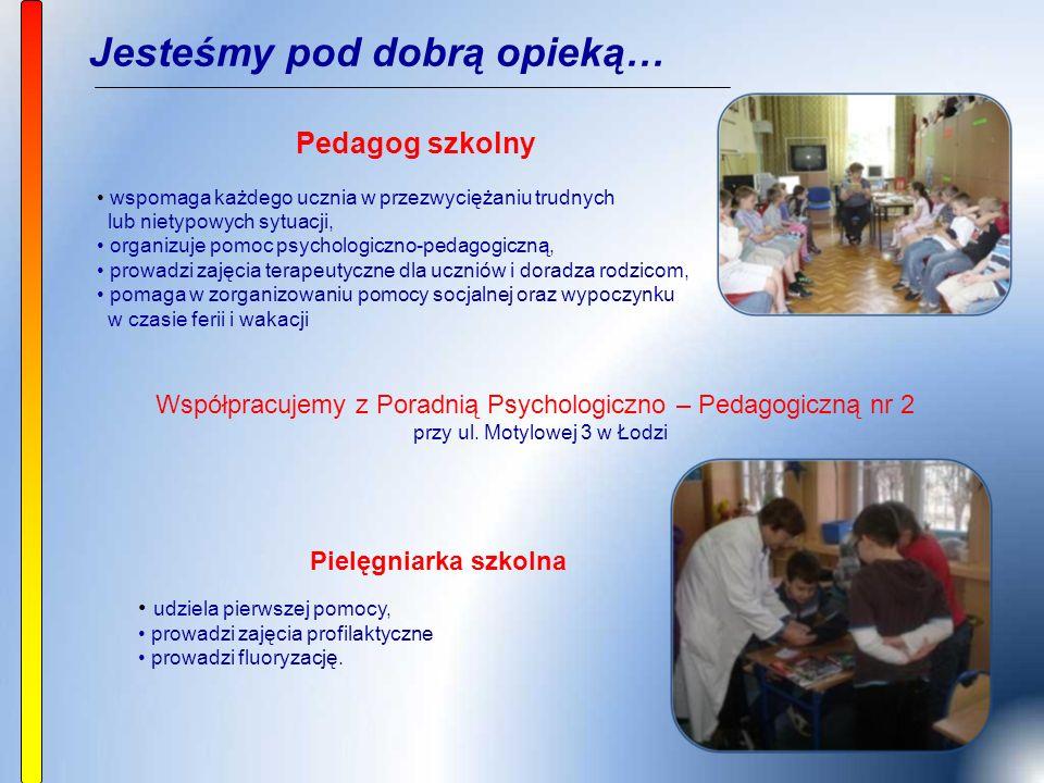 Jesteśmy pod dobrą opieką… Pedagog szkolny wspomaga każdego ucznia w przezwyciężaniu trudnych lub nietypowych sytuacji, organizuje pomoc psychologiczno-pedagogiczną, prowadzi zajęcia terapeutyczne dla uczniów i doradza rodzicom, pomaga w zorganizowaniu pomocy socjalnej oraz wypoczynku w czasie ferii i wakacji Pielęgniarka szkolna udziela pierwszej pomocy, prowadzi zajęcia profilaktyczne prowadzi fluoryzację.