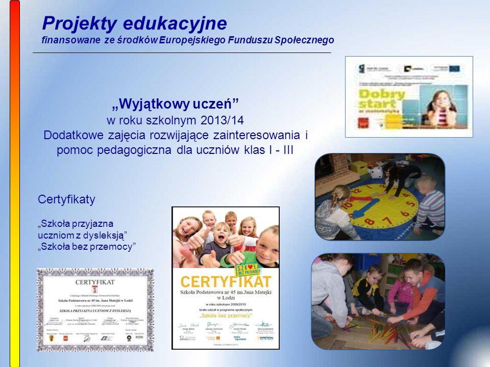 """Projekty edukacyjne finansowane ze środków Europejskiego Funduszu Społecznego """"Wyjątkowy uczeń"""" w roku szkolnym 2013/14 Dodatkowe zajęcia rozwijające"""