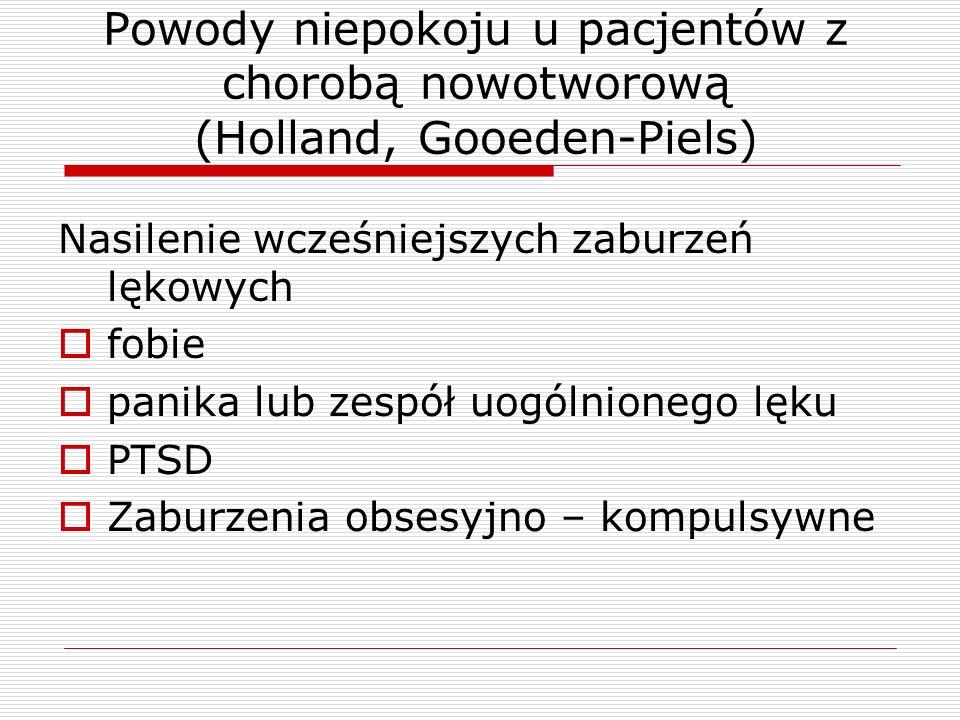 Powody niepokoju u pacjentów z chorobą nowotworową (Holland, Gooeden-Piels) Nasilenie wcześniejszych zaburzeń lękowych  fobie  panika lub zespół uog