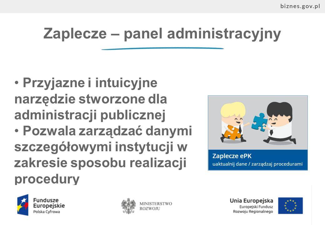 Zaplecze – panel administracyjny Przyjazne i intuicyjne narzędzie stworzone dla administracji publicznej Pozwala zarządzać danymi szczegółowymi instytucji w zakresie sposobu realizacji procedury