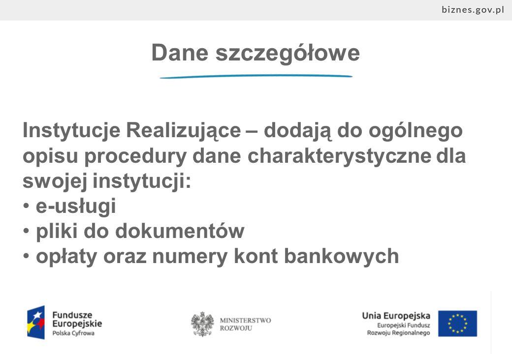 Dane szczegółowe Instytucje Realizujące – dodają do ogólnego opisu procedury dane charakterystyczne dla swojej instytucji: e-usługi pliki do dokumentów opłaty oraz numery kont bankowych