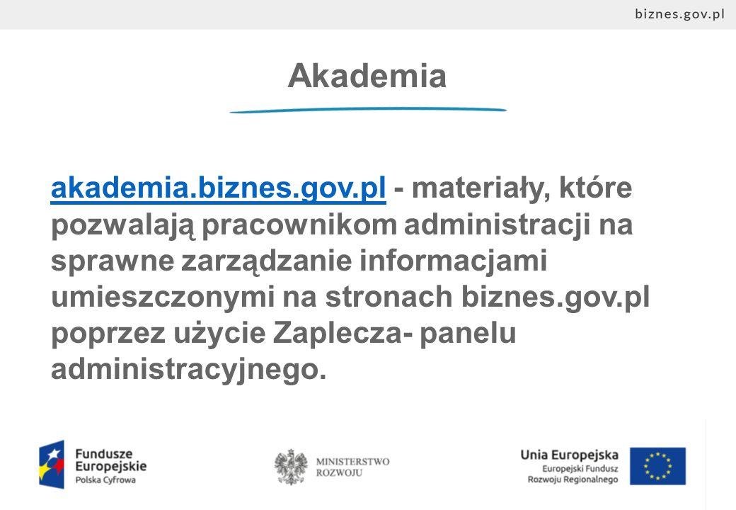 Akademia akademia.biznes.gov.plakademia.biznes.gov.pl - materiały, które pozwalają pracownikom administracji na sprawne zarządzanie informacjami umieszczonymi na stronach biznes.gov.pl poprzez użycie Zaplecza- panelu administracyjnego.