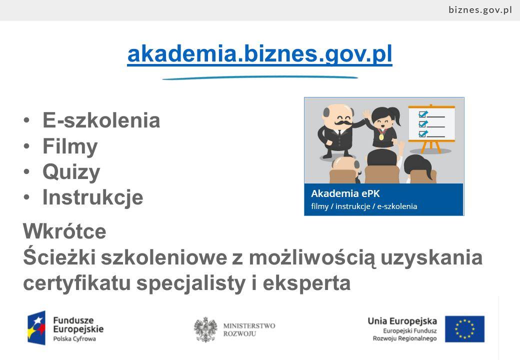 akademia.biznes.gov.pl E-szkolenia Filmy Quizy Instrukcje Wkrótce Ścieżki szkoleniowe z możliwością uzyskania certyfikatu specjalisty i eksperta