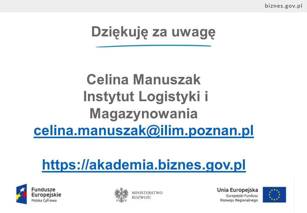 Dziękuję za uwagę Celina Manuszak Instytut Logistyki i Magazynowania celina.manuszak@ilim.poznan.pl https://akademia.biznes.gov.pl