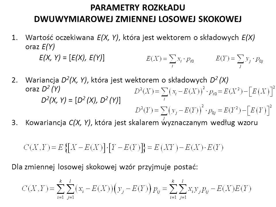 PARAMETRY ROZKŁADU DWUWYMIAROWEJ ZMIENNEJ LOSOWEJ SKOKOWEJ 1.Wartość oczekiwana E(X, Y), która jest wektorem o składowych E(X) oraz E(Y) E(X, Y) = [E(X), E(Y)] 2.Wariancja D 2 (X, Y), która jest wektorem o składowych D 2 (X) oraz D 2 (Y) D 2 (X, Y) = [D 2 (X), D 2 (Y)] 3.Kowariancja C(X, Y), która jest skalarem wyznaczanym według wzoru Dla zmiennej losowej skokowej wzór przyjmuje postać: