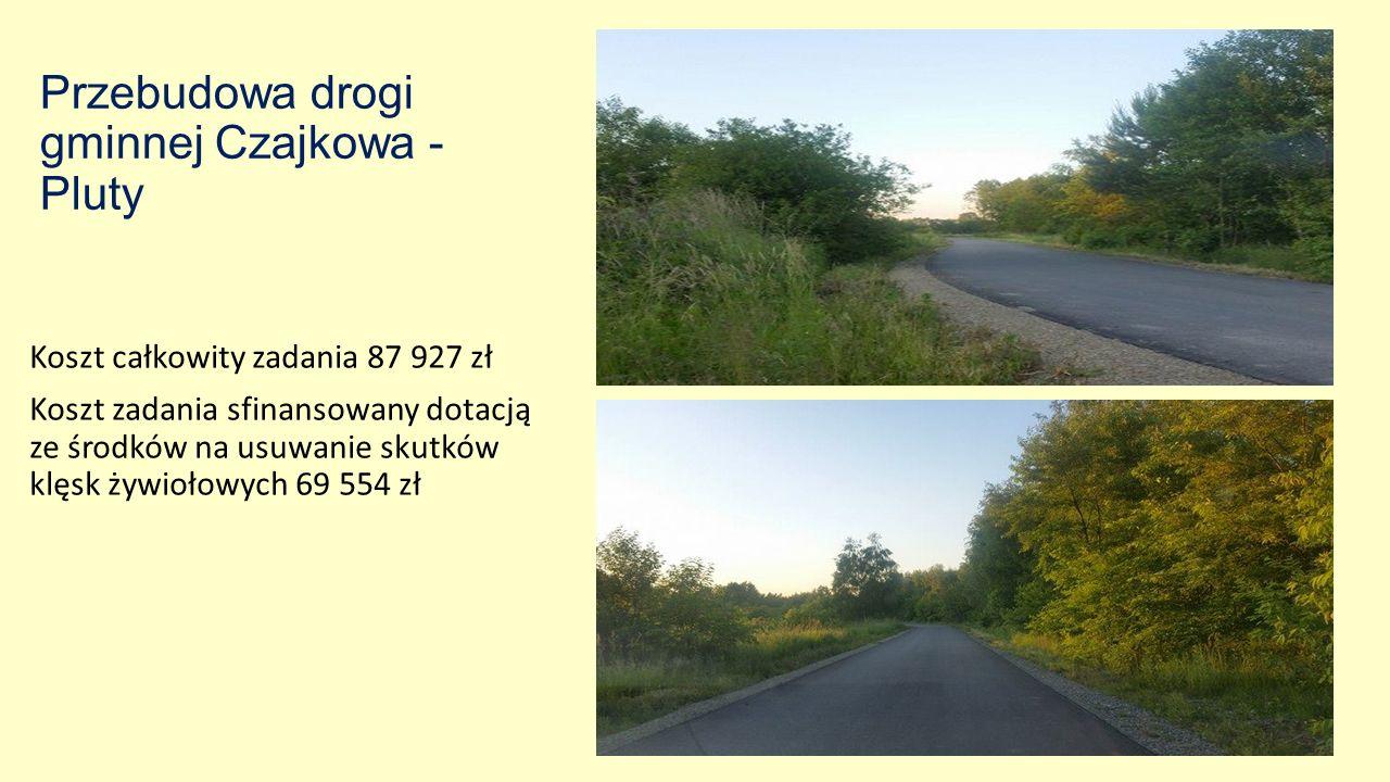 Przebudowa drogi gminnej Czajkowa - Pluty Koszt całkowity zadania 87 927 zł Koszt zadania sfinansowany dotacją ze środków na usuwanie skutków klęsk żywiołowych 69 554 zł