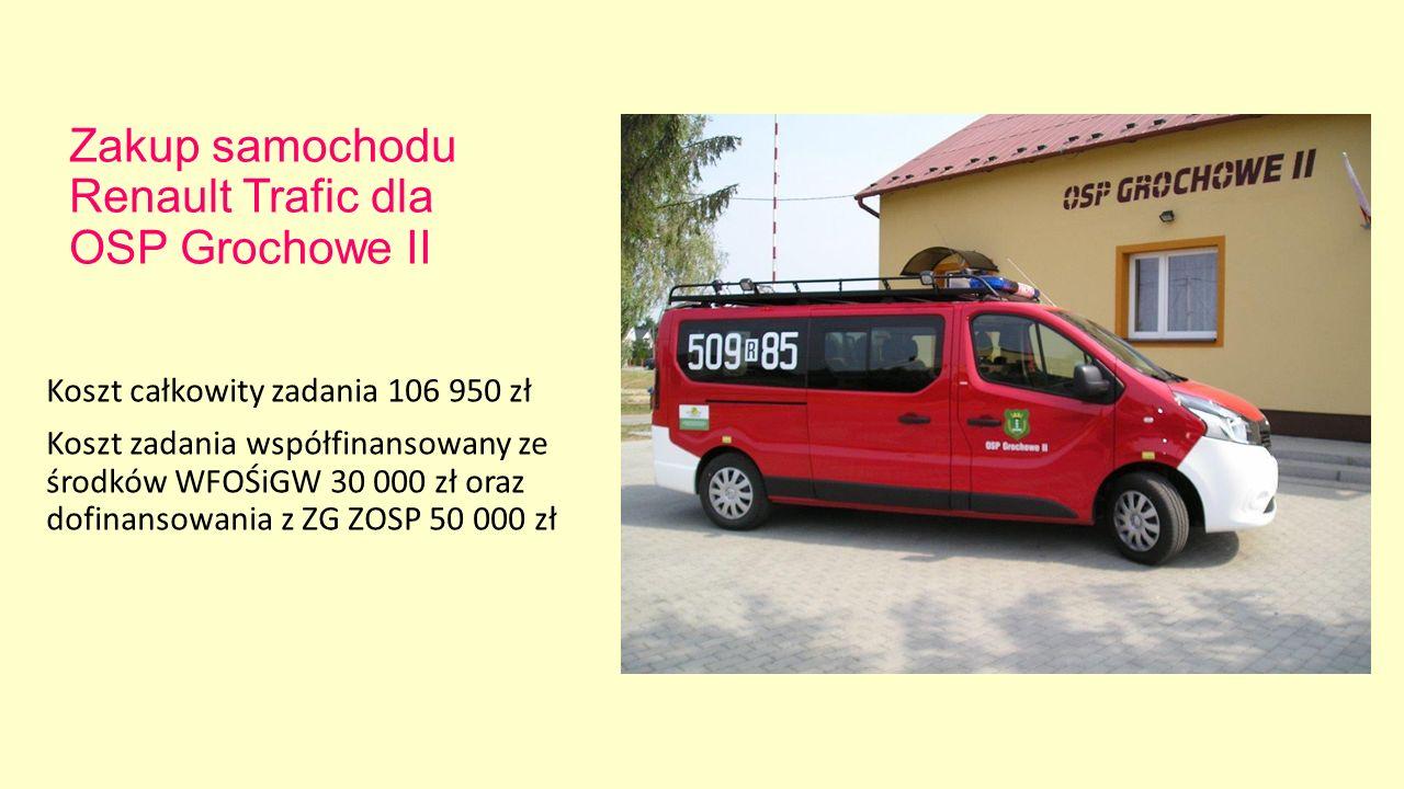 Zakup samochodu Renault Trafic dla OSP Grochowe II Koszt całkowity zadania 106 950 zł Koszt zadania współfinansowany ze środków WFOŚiGW 30 000 zł oraz dofinansowania z ZG ZOSP 50 000 zł