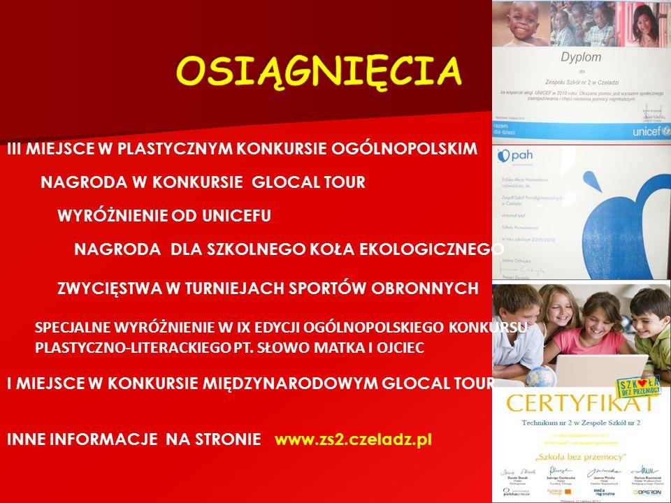 III MIEJSCE W PLASTYCZNYM KONKURSIE OGÓLNOPOLSKIM WYRÓŻNIENIE OD UNICEFU NAGRODA W KONKURSIE GLOCAL TOUR ZWYCIĘSTWA W TURNIEJACH SPORTÓW OBRONNYCH I MIEJSCE W KONKURSIE MIĘDZYNARODOWYM GLOCAL TOUR NAGRODA DLA SZKOLNEGO KOŁA EKOLOGICZNEGO SPECJALNE WYRÓŻNIENIE W IX EDYCJI OGÓLNOPOLSKIEGO KONKURSU PLASTYCZNO-LITERACKIEGO PT.