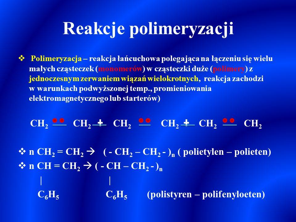 Katalityczne utlenianie alkenów i alkinów KMnO 4 (cd)  3 CH 2 = CH 2 + 2 KMnO 4 + 4 H 2 O   3 CH 2 (OH) – CH 2 (OH) + 2 MnO 2 + 2 KOH  5 CH 2 = CH