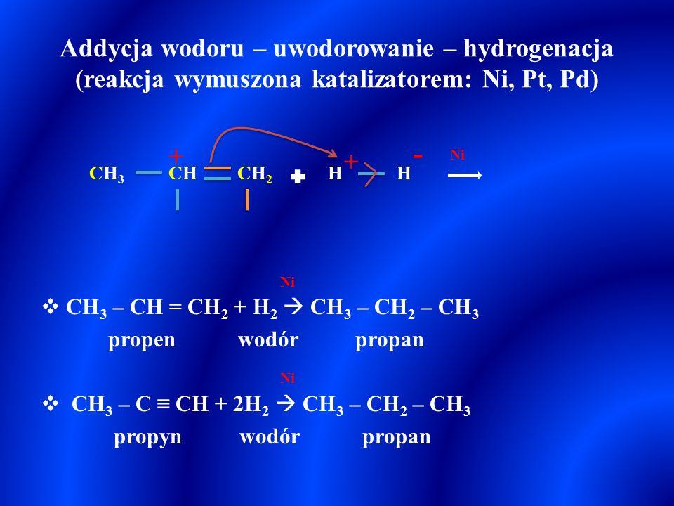 Addycja wodoru – uwodorowanie – hydrogenacja (reakcja wymuszona katalizatorem: Ni, Pt, Pd)  CH 3 – CH = CH 2 + H 2  CH 3 – CH 2 – CH 3 propen wodór propan  CH 3 – C ≡ CH + 2H 2  CH 3 – CH 2 – CH 3 propyn wodór propan + CH2CH2 CHCHCH3CH3 Ni H - H +