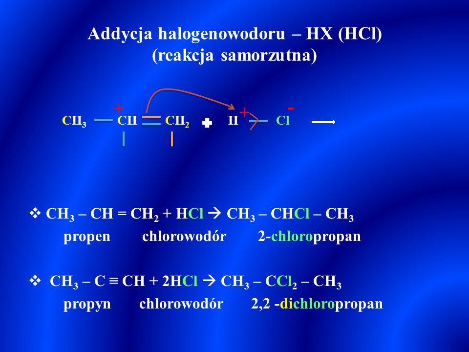Reguła Markownikowa  Addycja cząsteczek typu H – X (lub innej cząsteczki asymetrycznej polarnej np. H – OH) do wiązania wielokrotnego przebiega w tak