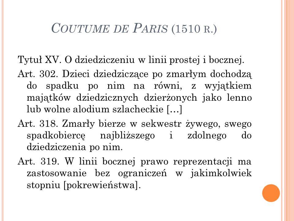 C OUTUME DE P ARIS (1510 R.) Tytuł XV. O dziedziczeniu w linii prostej i bocznej.