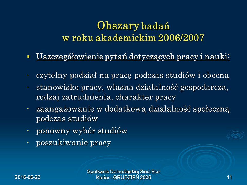 2016-06-22 Spotkanie Dolnośląskiej Sieci Biur Karier - GRUDZIEŃ 200611 Obszary badań w roku akademickim 2006/2007  Uszczegółowienie pytań dotyczących