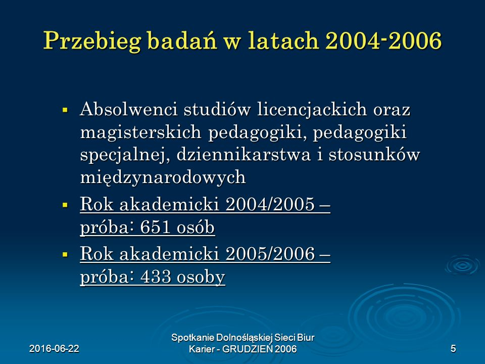 2016-06-22 Spotkanie Dolnośląskiej Sieci Biur Karier - GRUDZIEŃ 20065 Przebieg badań w latach 2004-2006  Absolwenci studiów licencjackich oraz magisterskich pedagogiki, pedagogiki specjalnej, dziennikarstwa i stosunków międzynarodowych  Rok akademicki 2004/2005 – próba: 651 osób  Rok akademicki 2005/2006 – próba: 433 osoby