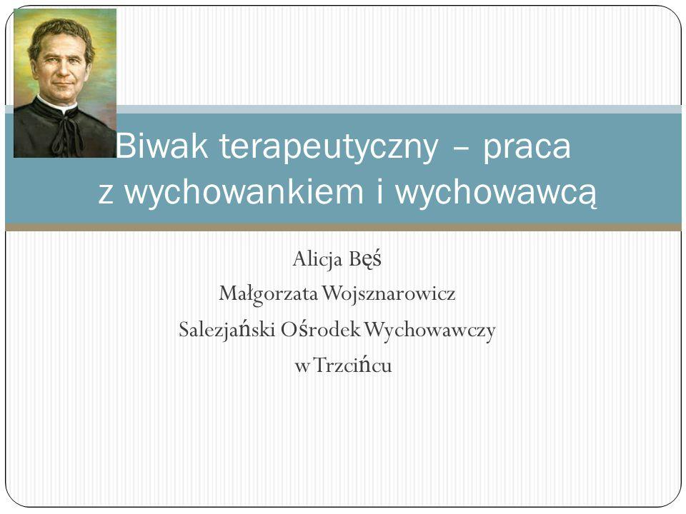 Alicja B ęś Małgorzata Wojsznarowicz Salezja ń ski O ś rodek Wychowawczy w Trzci ń cu Biwak terapeutyczny – praca z wychowankiem i wychowawcą