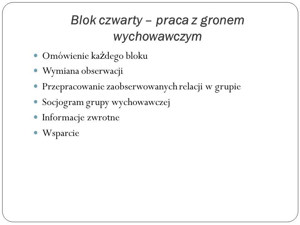 Blok czwarty – praca z gronem wychowawczym Omówienie ka ż dego bloku Wymiana obserwacji Przepracowanie zaobserwowanych relacji w grupie Socjogram grup
