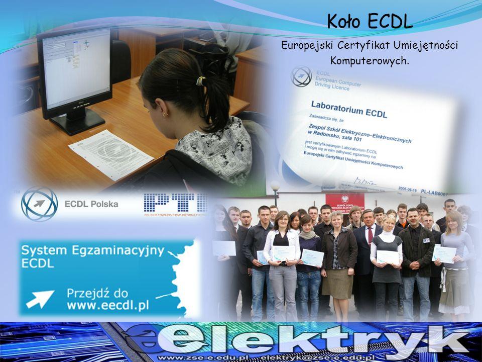 Koło ECDL Europejski Certyfikat Umiejętności Komputerowych.