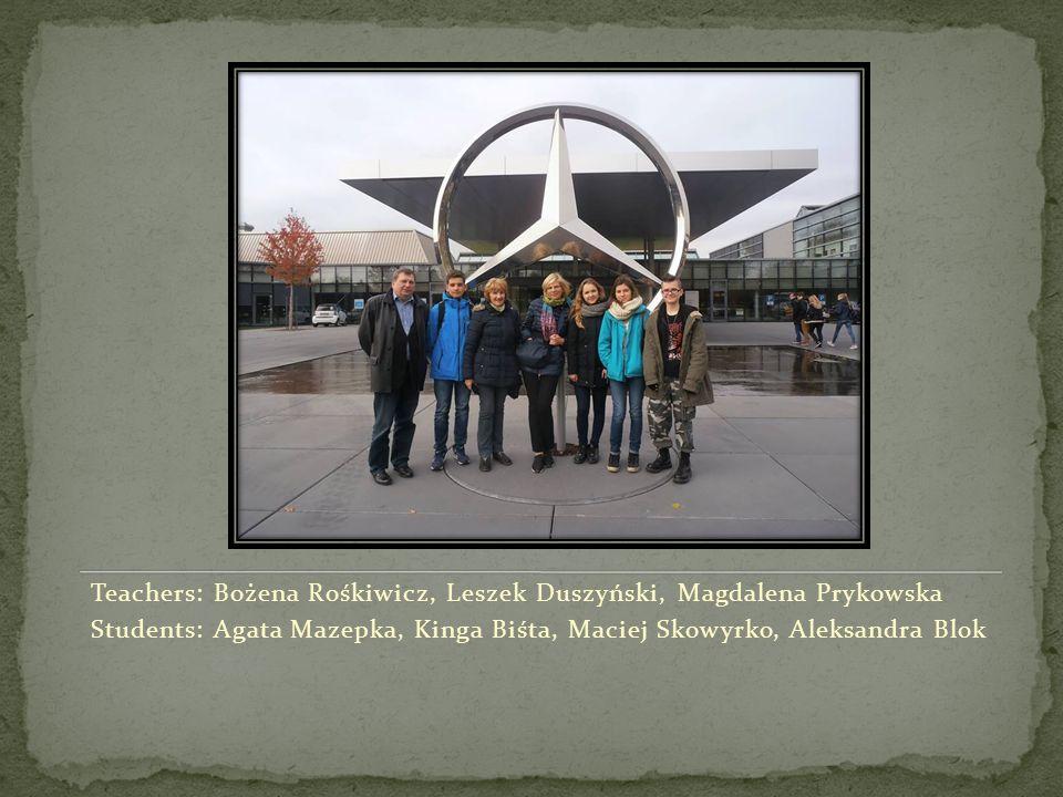 Teachers: Bożena Rośkiwicz, Leszek Duszyński, Magdalena Prykowska Students: Agata Mazepka, Kinga Biśta, Maciej Skowyrko, Aleksandra Blok
