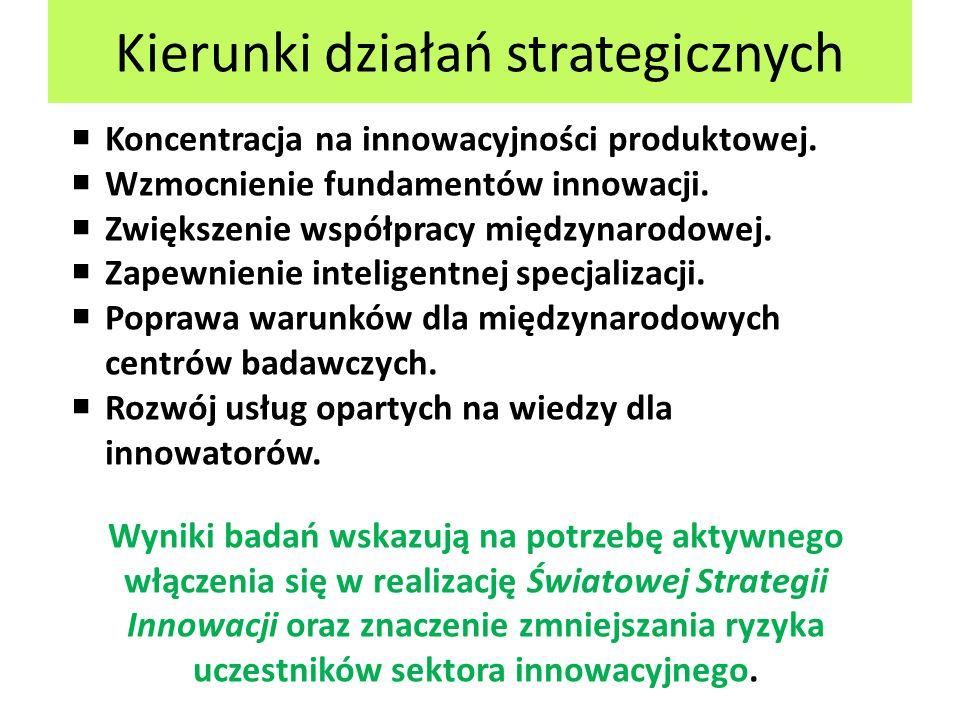 Kierunki działań strategicznych  Koncentracja na innowacyjności produktowej.