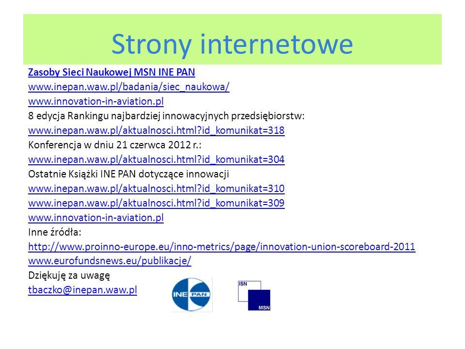 Strony internetowe Zasoby Sieci Naukowej MSN INE PAN www.inepan.waw.pl/badania/siec_naukowa/ www.innovation-in-aviation.pl 8 edycja Rankingu najbardziej innowacyjnych przedsiębiorstw: www.inepan.waw.pl/aktualnosci.html id_komunikat=318 Konferencja w dniu 21 czerwca 2012 r.: www.inepan.waw.pl/aktualnosci.html id_komunikat=304 Ostatnie Książki INE PAN dotyczące innowacji www.inepan.waw.pl/aktualnosci.html id_komunikat=310 www.inepan.waw.pl/aktualnosci.html id_komunikat=309 www.innovation-in-aviation.pl Inne źródła: http://www.proinno-europe.eu/inno-metrics/page/innovation-union-scoreboard-2011 www.eurofundsnews.eu/publikacje/ Dziękuję za uwagę tbaczko@inepan.waw.pl