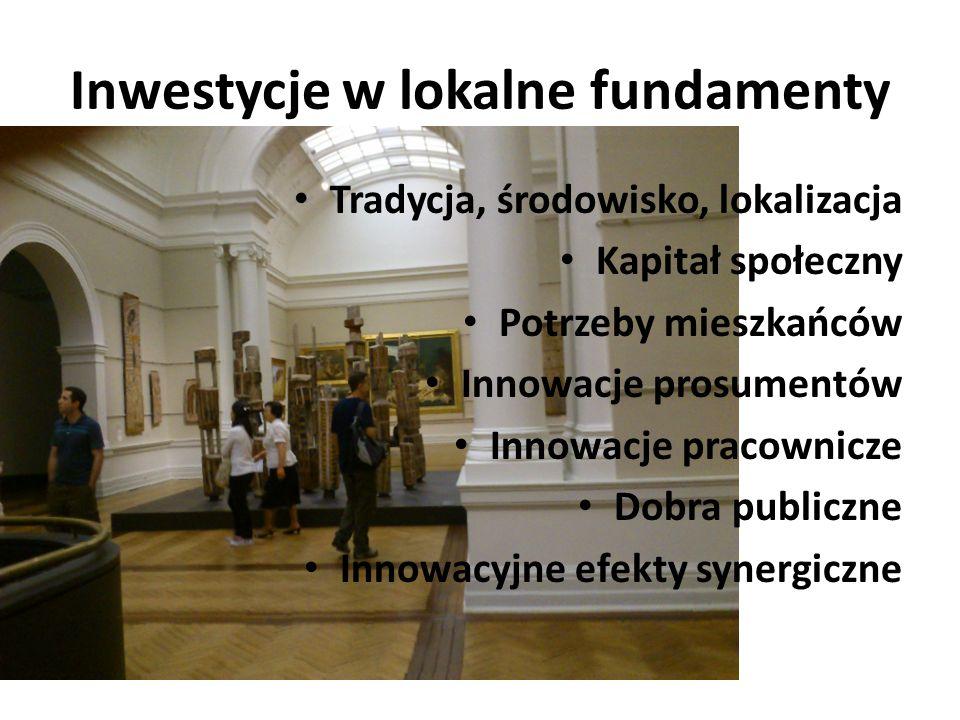 Inwestycje w lokalne fundamenty Tradycja, środowisko, lokalizacja Kapitał społeczny Potrzeby mieszkańców Innowacje prosumentów Innowacje pracownicze Dobra publiczne Innowacyjne efekty synergiczne