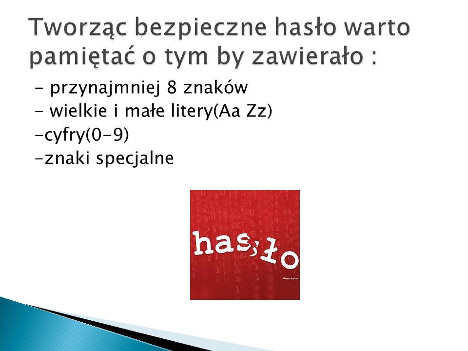 - przynajmniej 8 znaków - wielkie i małe litery(Aa Zz) -cyfry(0-9) -znaki specjalne