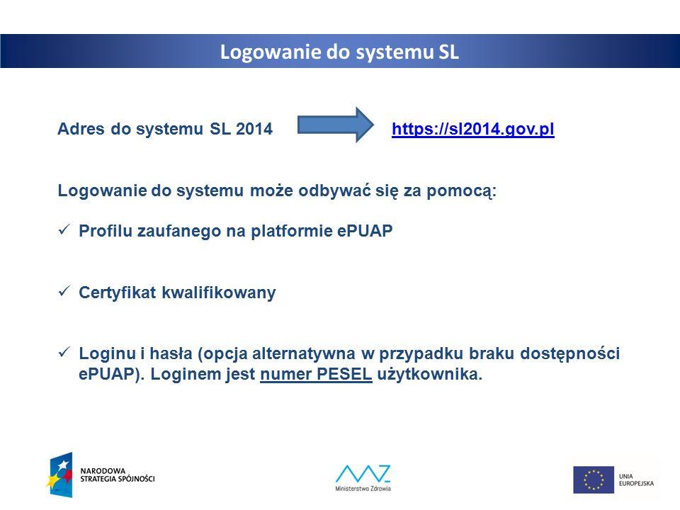 13 Logowanie do systemu SL Adres do systemu SL 2014 https://sl2014.gov.plhttps://sl2014.gov.pl Logowanie do systemu może odbywać się za pomocą: Profilu zaufanego na platformie ePUAP Certyfikat kwalifikowany Loginu i hasła (opcja alternatywna w przypadku braku dostępności ePUAP).