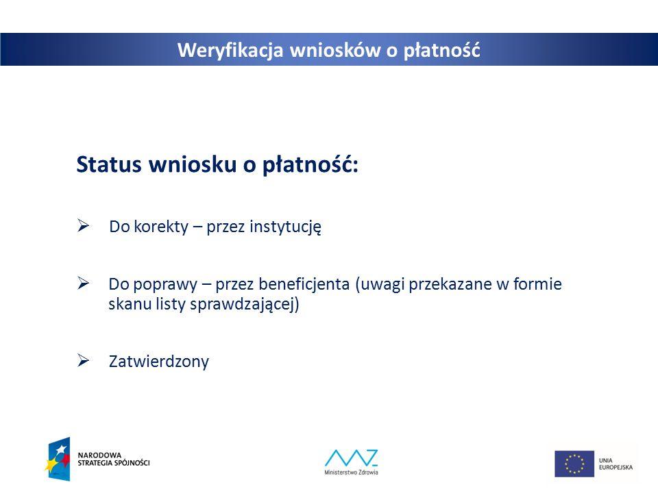 21 Weryfikacja wniosków o płatność Status wniosku o płatność:  Do korekty – przez instytucję  Do poprawy – przez beneficjenta (uwagi przekazane w formie skanu listy sprawdzającej)  Zatwierdzony