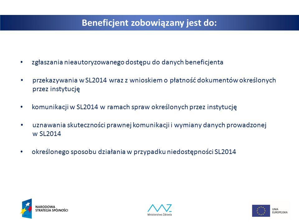 6 Beneficjent zobowiązany jest do: zgłaszania nieautoryzowanego dostępu do danych beneficjenta przekazywania w SL2014 wraz z wnioskiem o płatność dokumentów określonych przez instytucję komunikacji w SL2014 w ramach spraw określonych przez instytucję uznawania skuteczności prawnej komunikacji i wymiany danych prowadzonej w SL2014 określonego sposobu działania w przypadku niedostępności SL2014