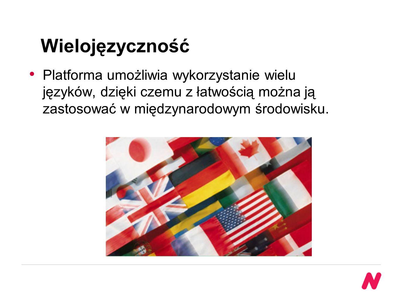 Wielojęzyczność Platforma umożliwia wykorzystanie wielu języków, dzięki czemu z łatwością można ją zastosować w międzynarodowym środowisku.