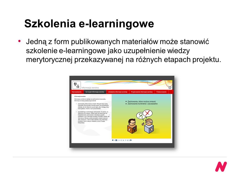 Szkolenia e-learningowe Jedną z form publikowanych materiałów może stanowić szkolenie e-learningowe jako uzupełnienie wiedzy merytorycznej przekazywanej na różnych etapach projektu.