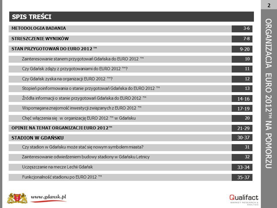 2 ORG A NIZACJA EURO 2012™ NA POMORZU METODOLOGIA BADANIA STRESZCZENIE WYNIKÓW STAN PRZYGOTOWAŃ DO EURO 2012 ™ Zainteresowanie stanem przygotowań Gdańska do EURO 2012 ™ Czy Gdańsk zdąży z przygotowaniami do EURO 2012 ™.