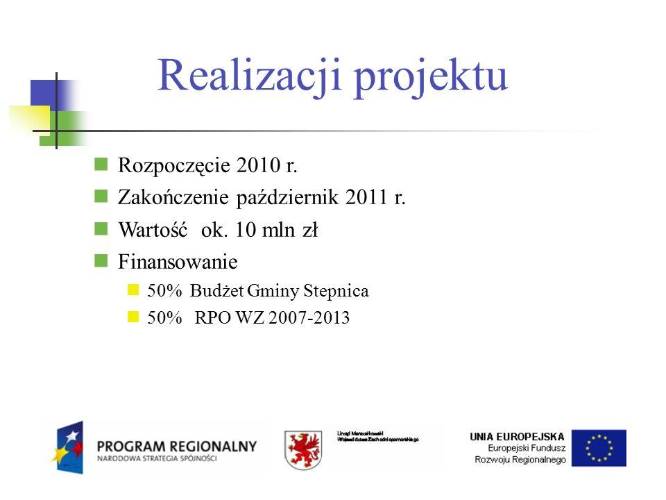 Realizacji projektu Rozpoczęcie 2010 r. Zakończenie październik 2011 r.
