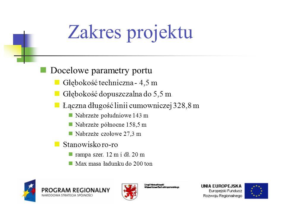 Zakres projektu Docelowe parametry portu Głębokość techniczna - 4,5 m Głębokość dopuszczalna do 5,5 m Łączna długość linii cumowniczej 328,8 m Nabrzeże południowe 143 m Nabrzeże północne 158,5 m Nabrzeże czołowe 27,3 m Stanowisko ro-ro rampa szer.