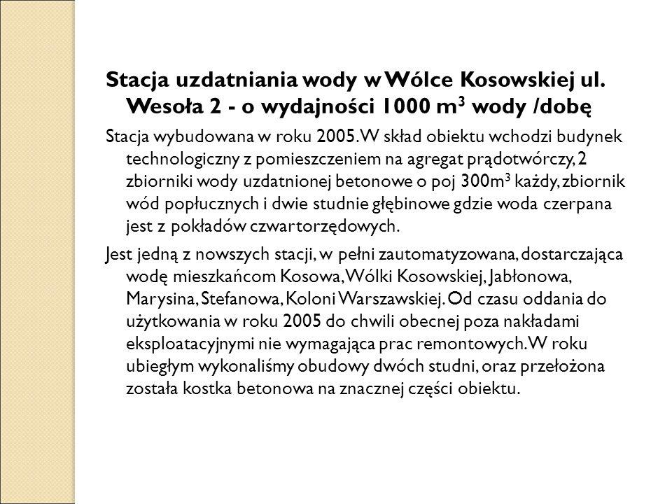 Stacja uzdatniania wody w Wólce Kosowskiej ul. Wesoła 2 - o wydajności 1000 m 3 wody /dobę Stacja wybudowana w roku 2005. W skład obiektu wchodzi budy