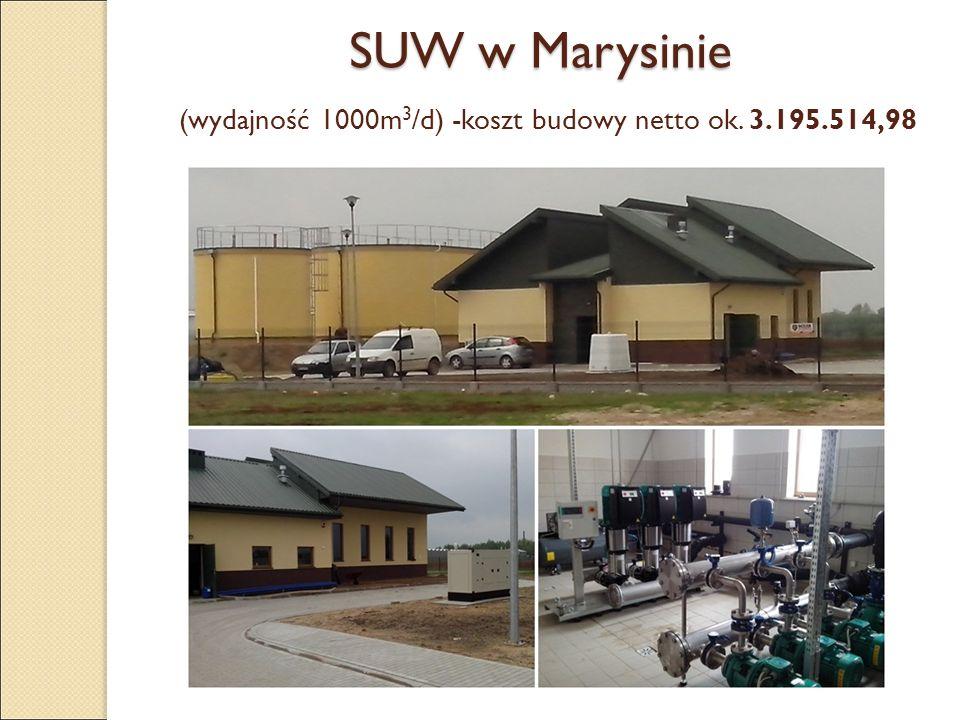 SUW w Marysinie SUW w Marysinie (wydajność 1000m 3 /d) -koszt budowy netto ok. 3.195.514,98