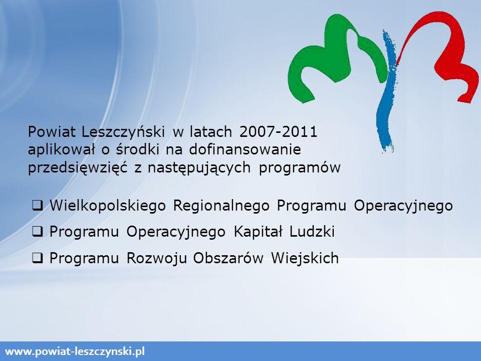 Powiat Leszczyński w latach 2007-2011 aplikował o środki na dofinansowanie przedsięwzięć z następujących programów www.powiat-leszczynski.pl  Wielkopolskiego Regionalnego Programu Operacyjnego  Programu Operacyjnego Kapitał Ludzki  Programu Rozwoju Obszarów Wiejskich