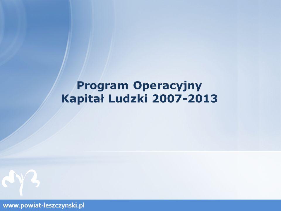 www.powiat-leszczynski.pl Program Operacyjny Kapitał Ludzki 2007-2013