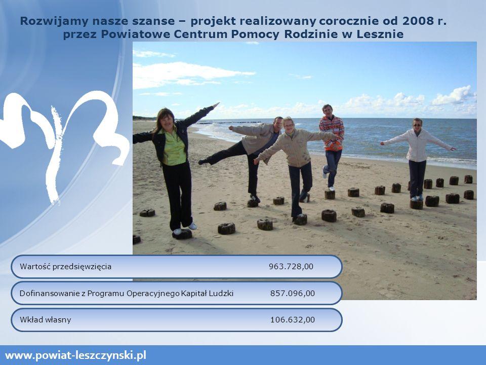 www.powiat-leszczynski.pl Rozwijamy nasze szanse – projekt realizowany corocznie od 2008 r.