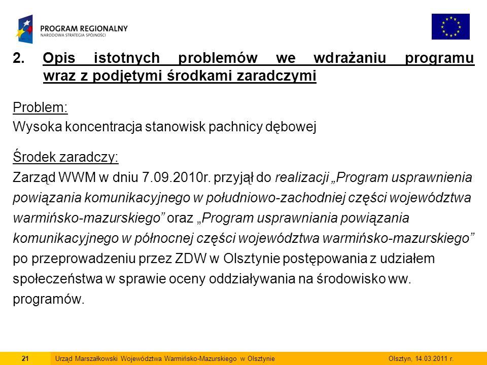 21Urząd Marszałkowski Województwa Warmińsko-Mazurskiego w Olsztynie Olsztyn, 14.03.2011 r.