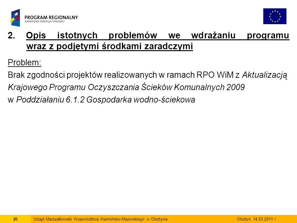 26Urząd Marszałkowski Województwa Warmińsko-Mazurskiego w Olsztynie Olsztyn, 14.03.2011 r.