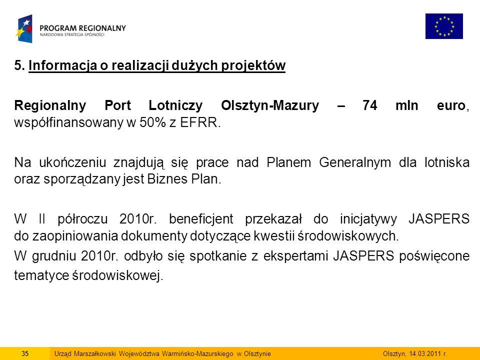 5. Informacja o realizacji dużych projektów Regionalny Port Lotniczy Olsztyn-Mazury – 74 mln euro, współfinansowany w 50% z EFRR. Na ukończeniu znajdu