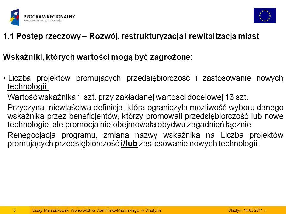 17Urząd Marszałkowski Województwa Warmińsko-Mazurskiego w Olsztynie Olsztyn, 14.03.2011 r.